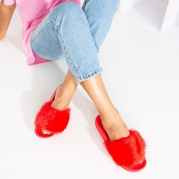 OUTLET Red slippers with fur Millie- Shoes