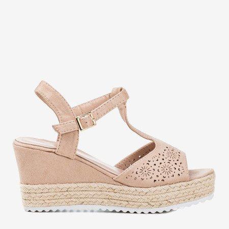 Beige openwork women's wedge sandals Moris - Footwear