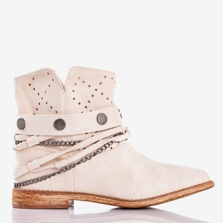 Beige-pink cowboy boots with a covered wedge heel Salemi - Shoes