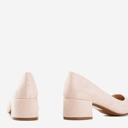 Beige pumps on a low post Amee - Shoes 1