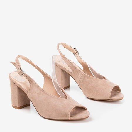 Beige sandals on a higher post Indimida - Footwear 1