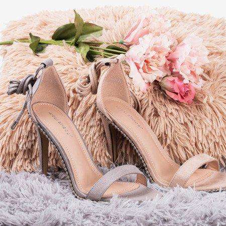 Beige tied sandals on a high heel Taya - Footwear