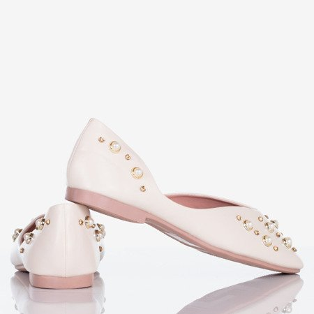 Beige women's ballerinas with Busts pearls - Footwear 1