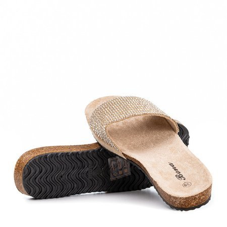 Beige women's flip-flops with Markada cubic zirconia - Footwear 1