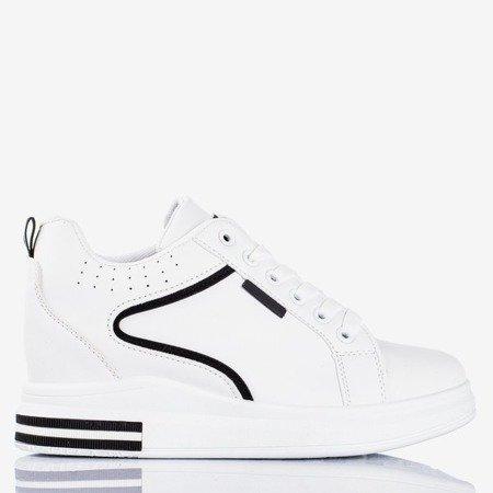 Black and white women's sneakers with an indoor wedge heel Marcja - Footwear