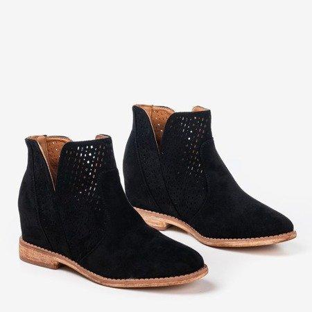 Black boots on an indoor wedge heel cowboy boots Besis - Footwear 1