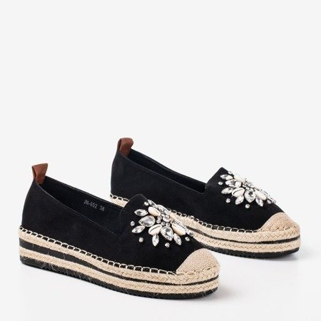 Black espadrilles on a platform with crystals Mraque - Footwear 1