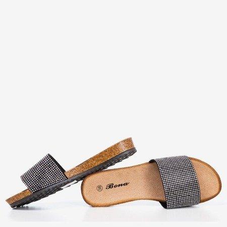 Black flip flops with Artesa zircons - Footwear 1