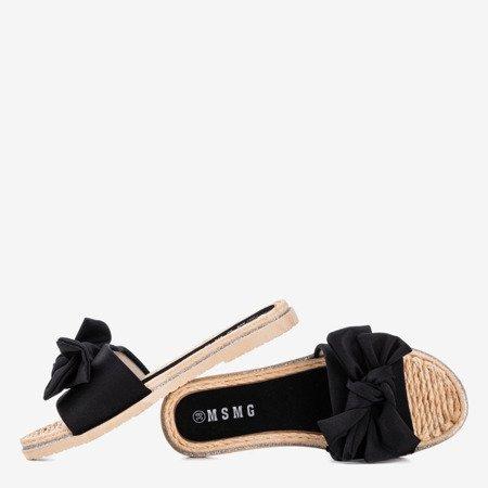 Black flip-flops with a bow Masmalla - Footwear 1