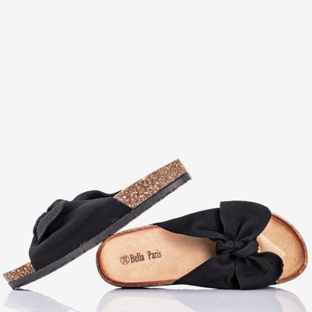 Black flip flops with a bow Sunshine - Shoes 1
