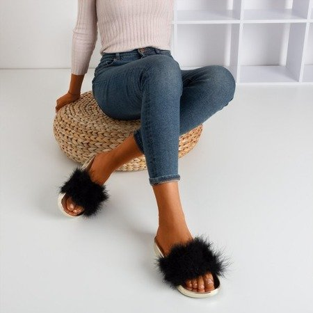 Black flip flops with fur Lovia - Footwear 1