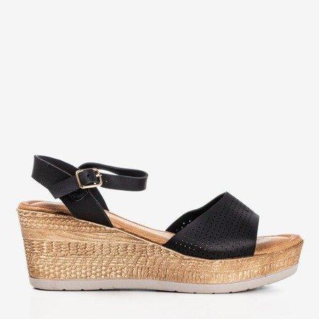 Black openwork wedge sandals Amandina - Footwear