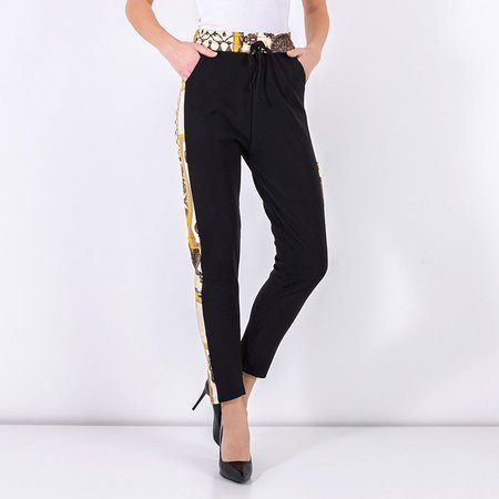 Black patterned women's trousers - Clothing