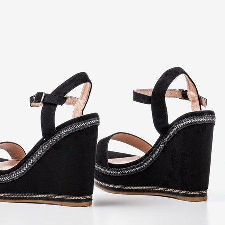 Black sandals on a Demetera wedge heel - Shoes 1