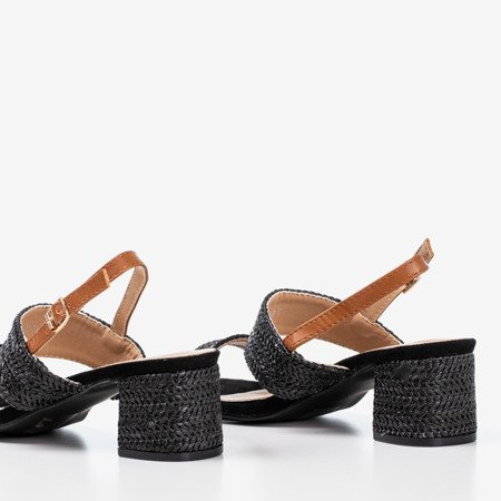 Black sandals on low post Riota - Footwear