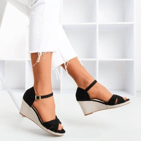 Black sandals on wedge Ficia - Footwear 1