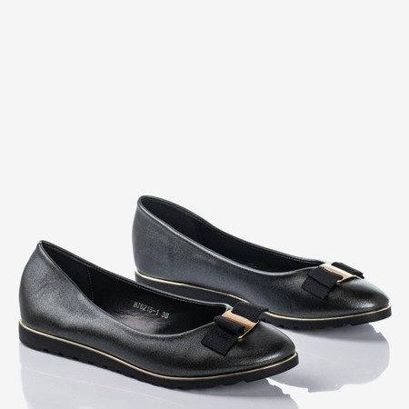 Black shiny women's ballerinas with bow Romantica - Footwear 1