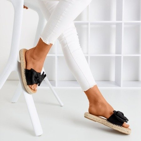 Black slippers with a Playa bow - Footwear