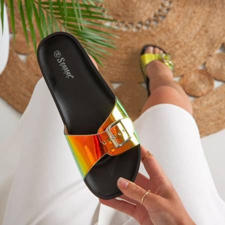 Black slippers with holographic finish Sabia - Footwear