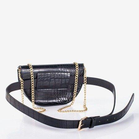 Black small kidney bag with embroidery a'la snake skin - Handbags 1
