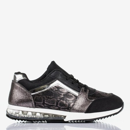 Black sports shoes with a snake skin decoration Obsession - Footwear