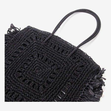 Black square straw women's shoulder bag - Handbags 1