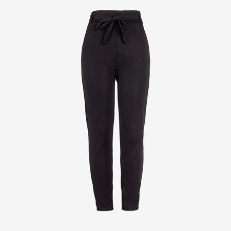 Black women's high-waisted paperbag trousers - Pants 1