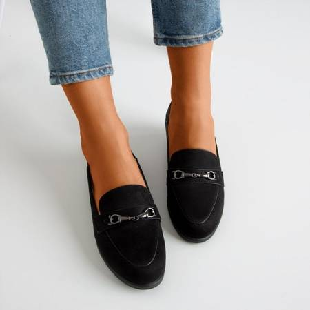 Black women's loafers with an ornament on the nose Hilawe - Footwear 1