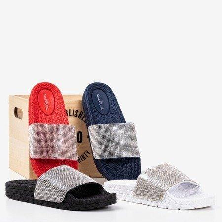 Black women's slippers with cubic zirconia Blink Blink - Footwear 1