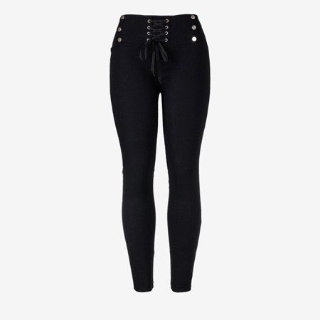 Black women's tied trousers with ties - Trousers 1