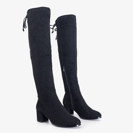 Black women's boots over the knee by Elvin - Footwear