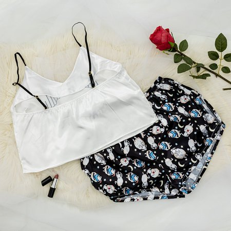 Black women's pajamas with print - Clothing