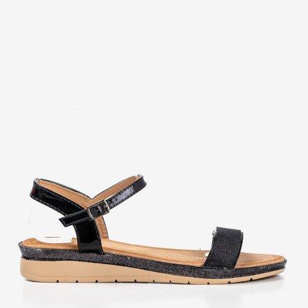 Black women's sandals on the low wedge Lisia - Footwear