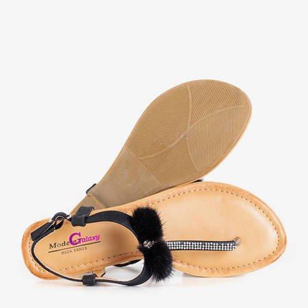 Black women's sandals with Begnet ornaments - Footwear