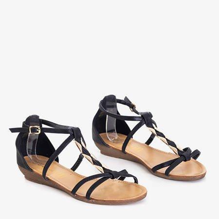 Black women's sandals with a golden ornament Marilla - Footwear