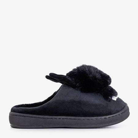 Black women's slippers with a bunny Rozalinda - Shoes