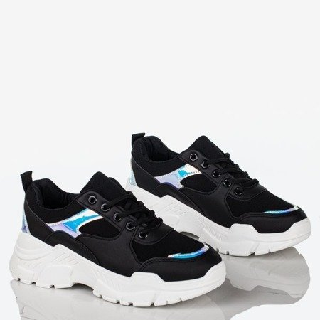 Black women's sneakers with holographic inserts Survive - Footwear 1