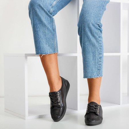 Black women's sneakers with zircons Sofitessa - Footwear 1