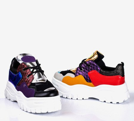 Black women's sports sneakers with colorful Stamford inserts - Footwear 1