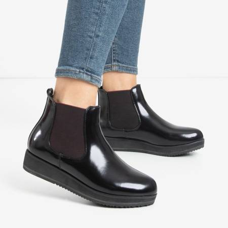 Black women's wedge boots from Stasia - Footwear