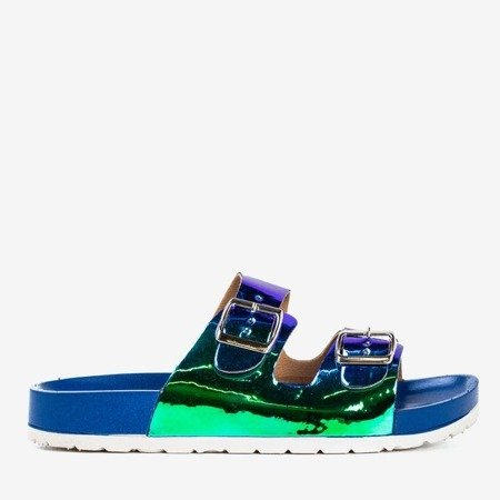 Blue flip flops with holographic finish Sumire - Footwear 1