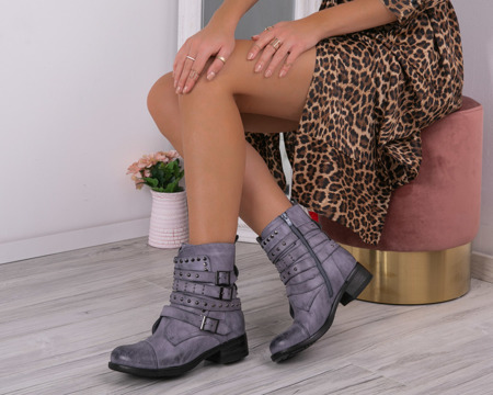 Boots with buckles in blue shade Manita - Footwear