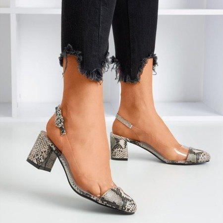 Brown pumps on a low post a'la snakeskin Evoria - Footwear