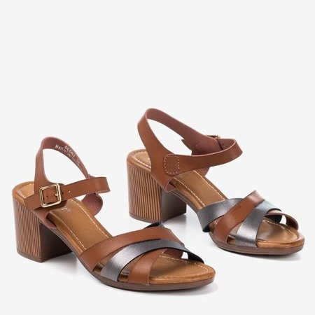 Brown sandals on a higher post with colorful stripes Sanica - Footwear