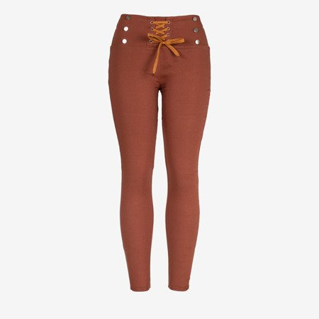 Brown women's trousers with tied treggings - Trousers 1