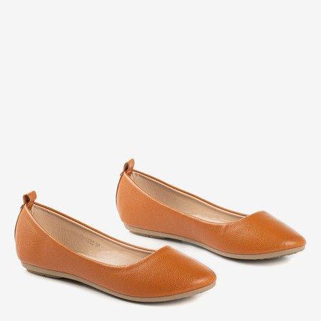 Brown women's ballerina eco - leather Nastis - Footwear 1