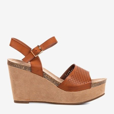 Brown women's sandals on the Wedge Autonoe - Footwear 1