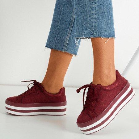 Burgundy brocade women's sneakers on the Acssias platform - Footwear 1