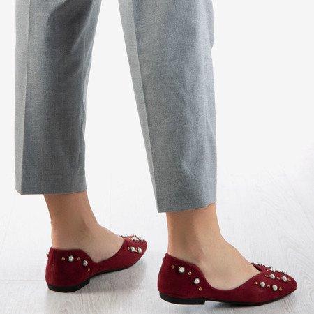 Burgundy women's ballerina shoes with Emanossa pearls - Footwear 1