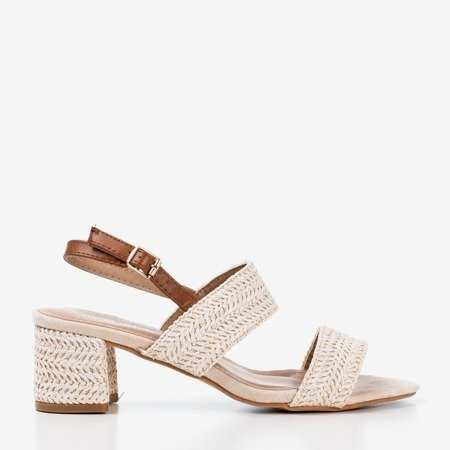 Cream sandals on a low post Riota - Footwear 1